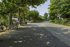 Cyklar som säkras till lock längs en väg, fodrar med träd i Dussel fotografering för bildbyråer