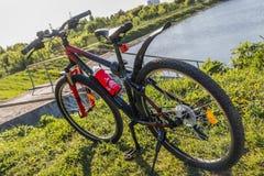 Cyklar sportar på ett grönt gräs nära en stadssjö Royaltyfri Fotografi