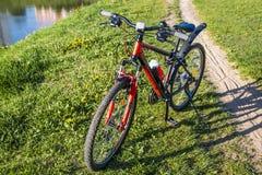 Cyklar sportar på ett grönt gräs nära en stadssjö Arkivbild