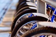 cyklar staden nära vägen Royaltyfri Bild