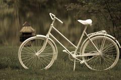 Cyklar vita kvinnor för den våta tappningstilblicken i våta gras på sjön Fotografering för Bildbyråer