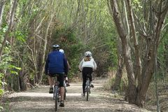 Cykliści na ścieżce, Lleida obrazy royalty free
