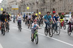 Cykliści na Moskwa cyklu paradzie Zdjęcie Stock