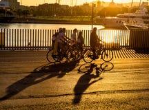 Cykliści schronieniem w Portowym Vell Zdjęcie Royalty Free