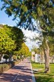 Cykli/lów pasy ruchu przy Molos parkiem w Limassol, Cypr Zdjęcie Stock