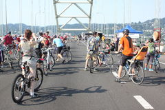 Cyklistövertagande Portland Royaltyfri Fotografi