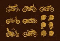 Cyklist för Handrawn tappningmotorcykel och hjälmskalle Arkivbild