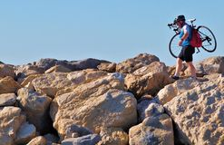 Cyklist för St marie de la mer Fotografering för Bildbyråer