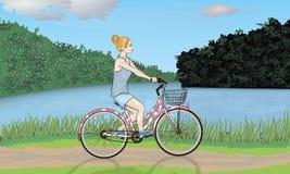 Cyklist i natur Arkivfoto