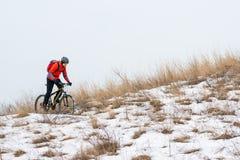 Cyklist i röd ridningmountainbike på den snöig slingan Extrem vintersport och Enduro som cyklar begrepp Royaltyfria Foton