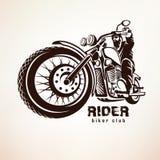 Cyklist kontur för motorcykelgrungevektor Royaltyfria Bilder