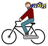 Cyklist med flyghalsduken Arkivfoton