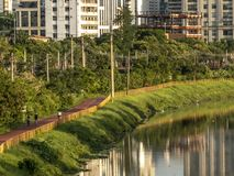Cyklist på cykelgränd nära av den Pinheiros floden, västra sida av Sao Paulo arkivbilder