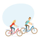 Cyklist på stadscykeln Arkivfoto