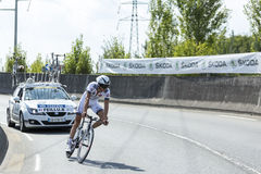 Cyklista Brice Feillu - tour de france 2014 Obrazy Stock