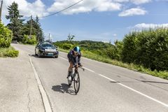 Cyklista David Lopez Garcia, Criterium Du Dauphine 2017 - Obraz Royalty Free
