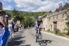 Cyklista Julien Vermote na Mont Ventoux - tour de france 2016 Zdjęcie Stock