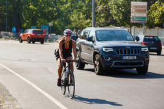 Cyklista na ulicie Potsdam Fotografia Stock