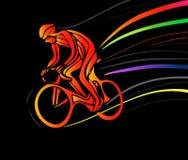 Cyklista w rower rasie również zwrócić corel ilustracji wektora Obrazy Royalty Free
