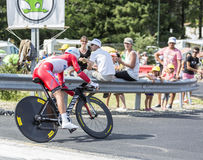 Cyklista Yury Trofimov - tour de france 2014 Fotografia Stock