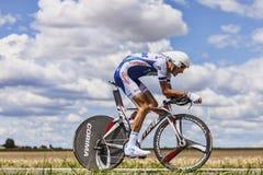 Cyklisten Brice Feillu Arkivbild