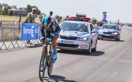 Cyklisten David Lopez Garcia Royaltyfria Bilder