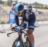 Cyklisten David Lopez Garcia Arkivbild