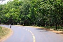 Cyklisten för manridningmotor på vägen Campuchia royaltyfria bilder