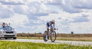 Cyklisten Jerome Coppel Arkivfoton