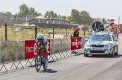 Cyklisten Jonathan Hivert Arkivfoto