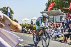 Cyklisten Julien Simon Arkivfoton