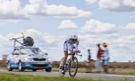 Cyklisten Mathieu Ladagnous Arkivbilder