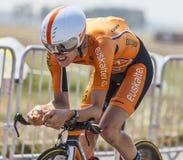 Cyklisten Romain Sicard Arkivbild