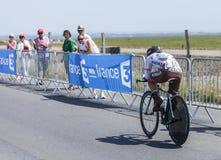 Cyklisten Samuel Dumoulin Arkivfoton
