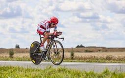 Cyklisten Yuri Trofimov Arkivfoto