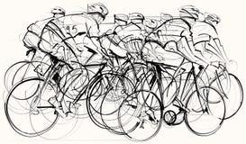 Cyklister i konkurrens stock illustrationer