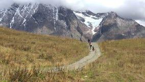 Cyklister på bergvägen arkivfilmer