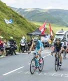 Cyklister på sänkan de Peyresourde - Tour de France 2014 Fotografering för Bildbyråer