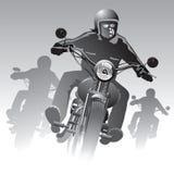 Cyklister på vägen Arkivbild