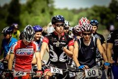 Cyklister som är klara för starten Royaltyfri Foto