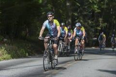 Cyklister som klättrar den skuggade kullen arkivbilder