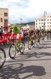 Cyklister som konkurrerar i Postgirot D'Italia 2014 Royaltyfria Bilder