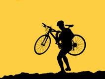 cyklistfotosilhouette Arkivfoton