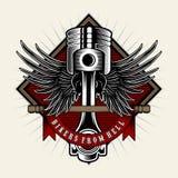 Cyklistmakt Pistong med vingar p? ljus bakgrund Planl?gg best?ndsdelen f?r logoen, etiketten, emblemet, tecknet, emblem, t-skjort stock illustrationer