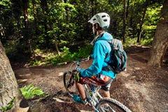 Cyklistridning i skog Arkivfoto