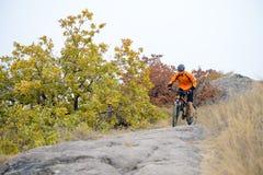 Cyklistridningcykel på den härliga Autumn Mountain Trail Royaltyfri Fotografi