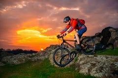Cyklistridningmountainbiket fjädrar ner Rocky Hill på den härliga solnedgången Extremt sportar och affärsföretagbegrepp royaltyfria bilder