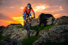 Cyklistridningmountainbiket fjädrar ner Rocky Hill på den härliga solnedgången Extremt sportar och affärsföretagbegrepp Royaltyfria Foton