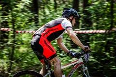 Cyklistritter till och med skogen Arkivbilder