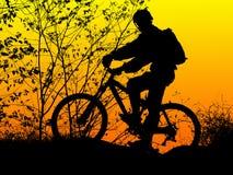 cyklistsilhouette Arkivbilder